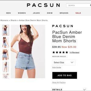 PacSun amber blue denim high rise mom shorts